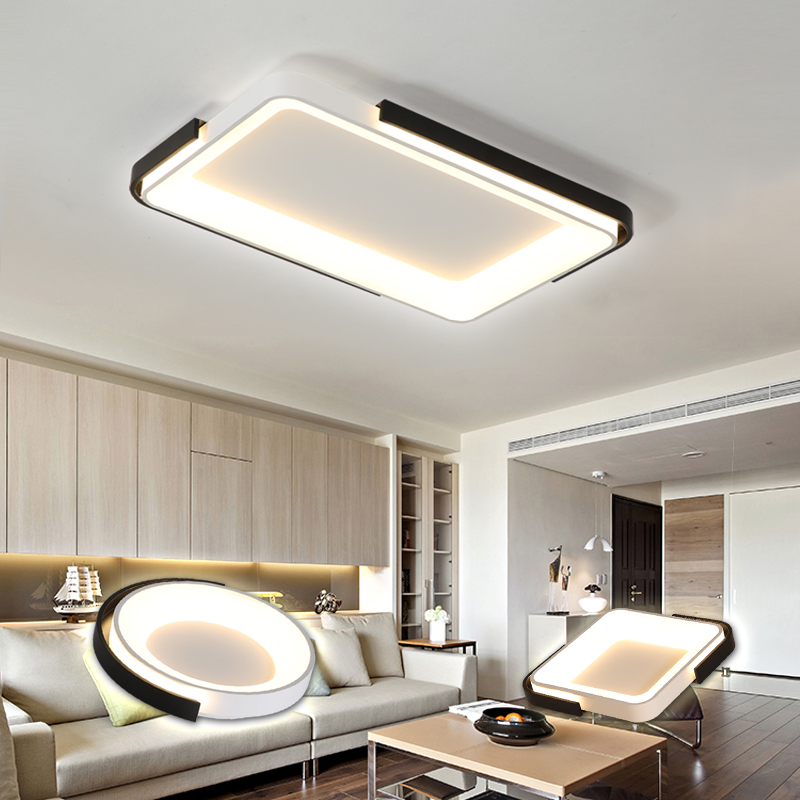 Surface mounted modern LED ceiling lights for living room bedroom study decoration square round 85-220V ceiling lamp deviceSurface mounted modern LED ceiling lights for living room bedroom study decoration square round 85-220V ceiling lamp device