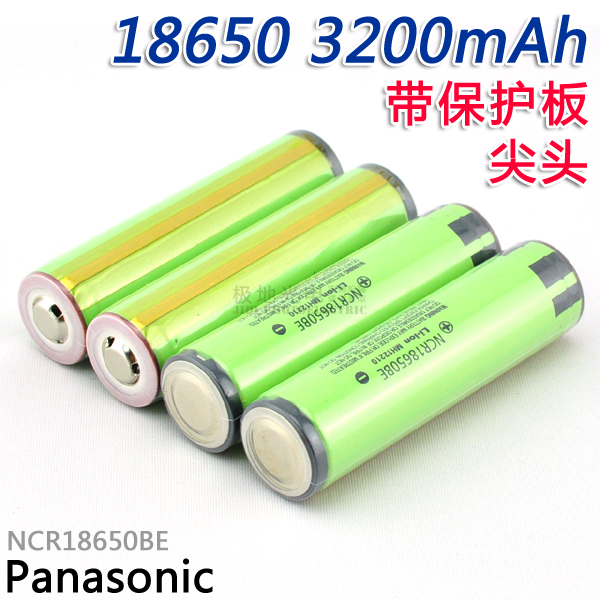 10 pçs/lote Novo Original Para Panasonic Protegido 18650 NCR18650BE 3200 mah 3.7 v Li-ion Recarregável bateria Para e-cig com PCB