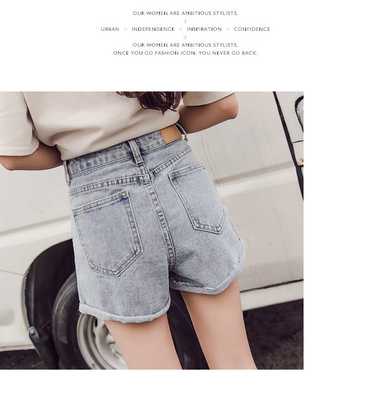 Denim Shorts: Women's Baggy, High-waisted A-line Wide-leg Pants With Ripped Legs Look Slim Jeans