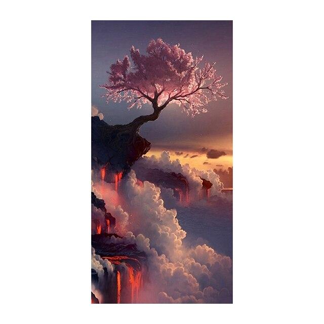 사쿠라 다이아몬드 그림 화산에 벚꽃 그림 수제 자수 크리스탈 모자이크 크로스 스티치 그림 키트 벽 decornmx