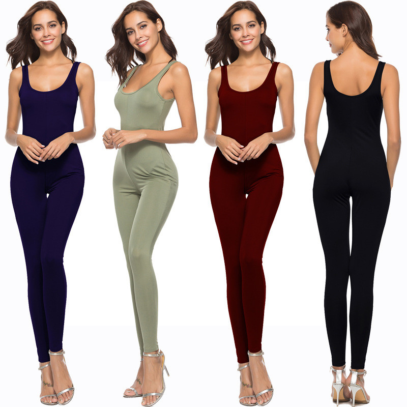 Women Bodycon Jumpsuits 2018 Summer New Spaghetti Strap Sexy Backless Slim Rompers Female Casual High Elastic Black Jumpsuits