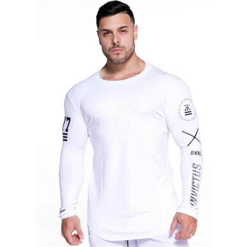 YEMEKE Fashion High-elasticity Sporting   T  -  shirt   Men long Sleeve Fitness   T     shirt   Men's solid gyms Bodybuilding   T  -  shirt   Tee