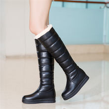 YMECHIC 2018 Black White Knee High Winter Boot Women Plus Size Fur Tassel Ladies Girls Lolita Shoes Long Tall Knight Snow Boots(China)