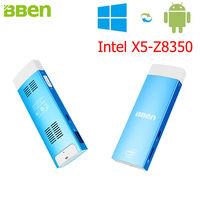 Bben Intel Мини-ПК Окна 10 и Android 5.1 Intel Z8350 HD Графика 2 ГБ Оперативная память 32 ГБ Встроенная память HDMI USB3.0 Wi-Fi stick ПК мини-компьютер PC