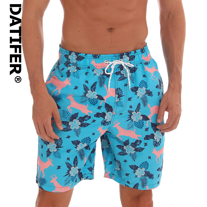 Datifer Board Shorts Men Breathable Sport Swimming Shorts Solid Color Elastic Waist Beach Shorts Summer Swim Shorts