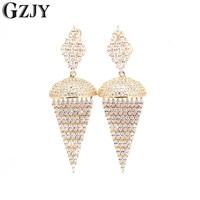 GZJY New Bohemian Wedding Zircon Big Drop Earrings For Women Fashion Accessories Crystal Dangle Earrings Jewelry Women Gift