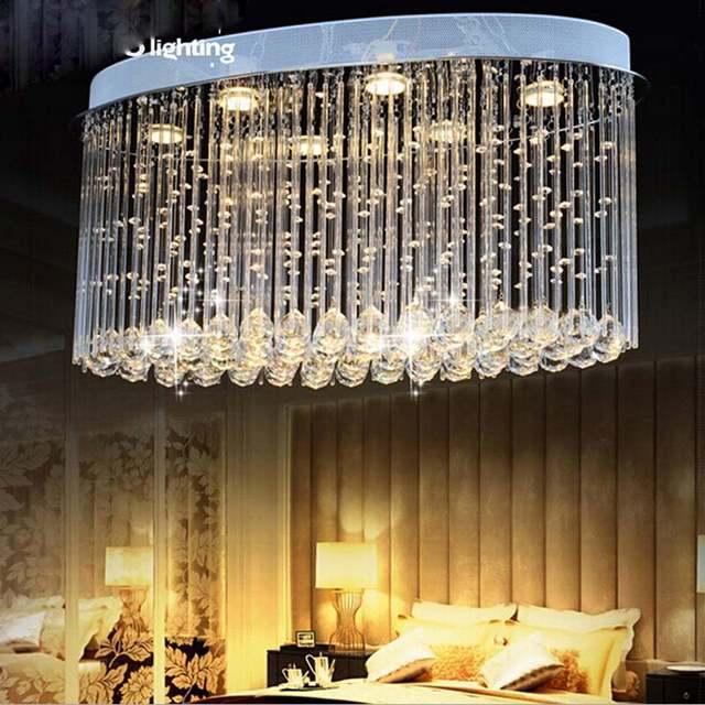 US $447.92 56% OFF|Einfache ovale schlafzimmer lampe wohnzimmer kristall  deckenleuchte kreative restaurant esszimmer lampe LED Kronleuchter-in ...