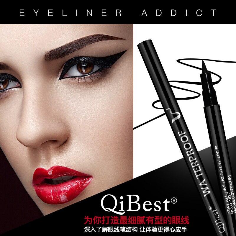 Qibest Black Waterproof Eyeliner Quick-drying Eyeliner Pen Anti-sweat Long-lasting Liquid Eye Liner Smooth Make Up Tools