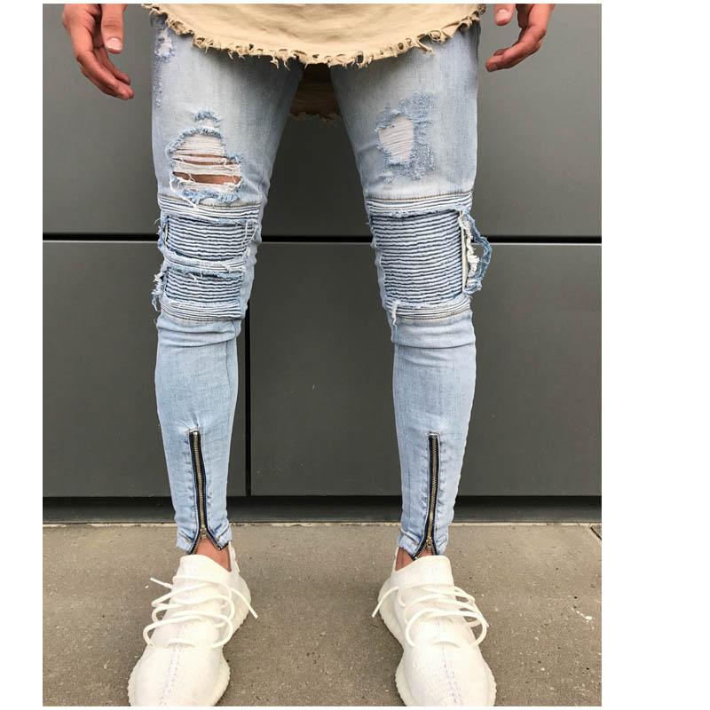 Man Hole Ripped jeans men High Street biker Jeans Men Pencil Jean Pants Adult Zipper ski ...