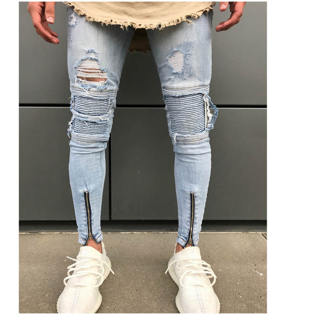 515c8536ca2 Man Hole Ripped jeans men High Street biker Jeans Men Pencil Jean Pants  Adult Zipper skinny
