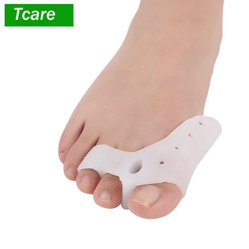 1Pair Silicone Gel Foot Fingers Three Hole Toe Separator Thumb Valgus Protector Bunion Adjuster Hallux Valgus Guard Feet Care