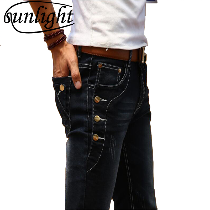 2019 New Fashion Korean Style High Street Slim Fit Button Personality Vintage Classical Denim Pants Stretch   jeans   27-36 Trousers