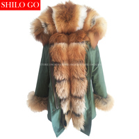 Новый Зимний Армия зеленый куртка женская верхняя одежда толстые парки натуральной Red Fox меховым воротником Настоящее пальто кролика с капю