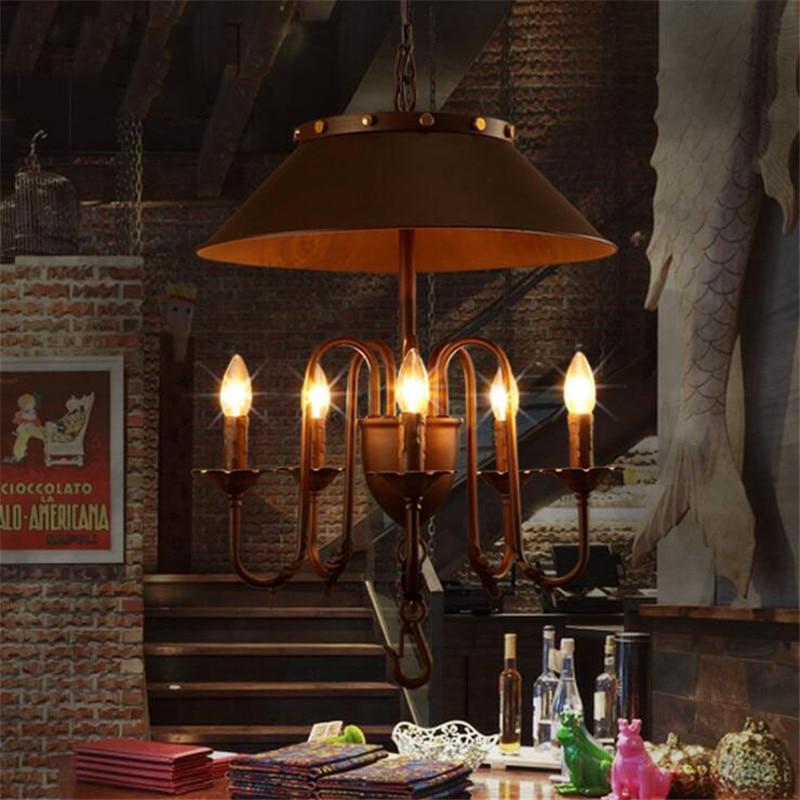Loft Style Retro Umbrella Dining Room Pendant Lights Vintage Iron Candle Light Cafe /  Bar Lights Free Shipping edison inustrial loft vintage amber glass basin pendant lights lamp for cafe bar hall bedroom club dining room droplight decor