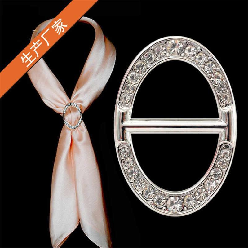 Perempuan Kustom Selendang Cincin Klip Syal Pengikat Emas Perak Kristal Sutra Syal Gesper Bros Perhiasan Pernikahan Wanita Hadiah Fashion