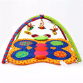 Bebê sounding play game esporte mat rastejando tapetes de algodão crianças animal dos desenhos animados educacional tapete borboleta bebe brinquedos de pelúcia chocalhos