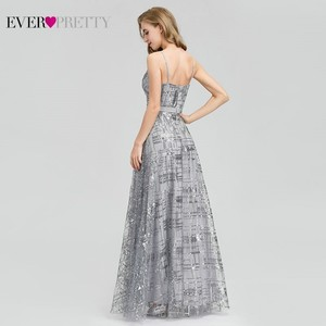 Image 2 - Ever Pretty, серые вечерние платья с блестками, Длинные вечерние платья с v образным вырезом и разрезом по бокам, сексуальные блестящие вечерние платья EP07957GY Abiye Gece Elbisesi