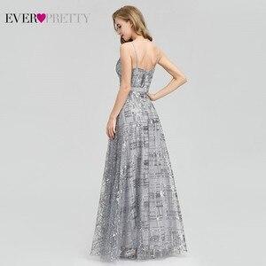 Image 2 - Immer Ziemlich Grau Pailletten Abendkleider Lange V ausschnitt Side Split Sexy Sparkle Formale Party Kleider EP07957GY Abiye Gece Elbisesi