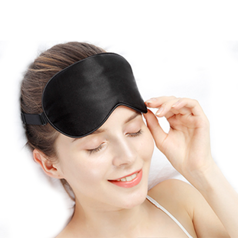 Black Massage Silk Sleep Eye Mask Portable Soft Blindfold Smooth Eye Bandage Travel Sleeping Rest Eyeshade Shade Cover Eyepatch In Sleep Snoring From