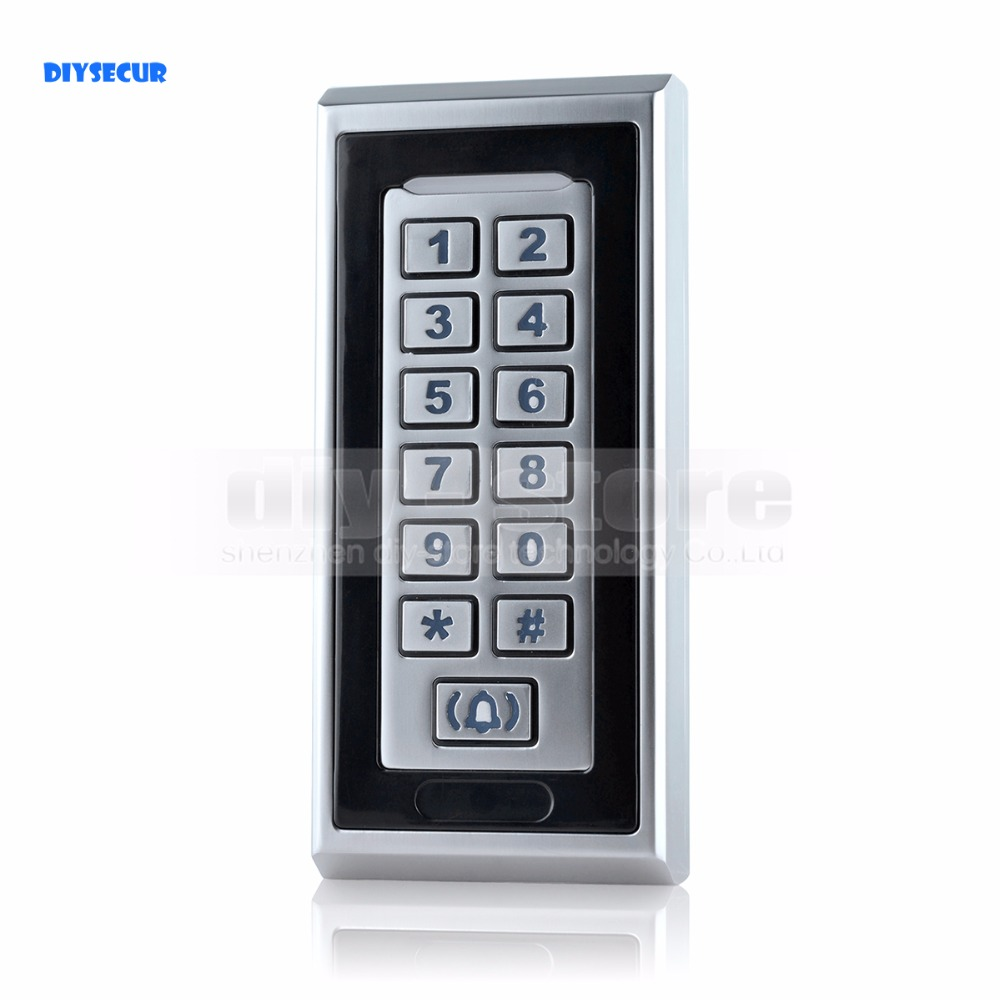 DIYSECUR Door Bell Button Metal Password Keypad RFID Reader for Access Control Security System diysecur magnetic lock door lock 125khz rfid password keypad access control system security kit for home office