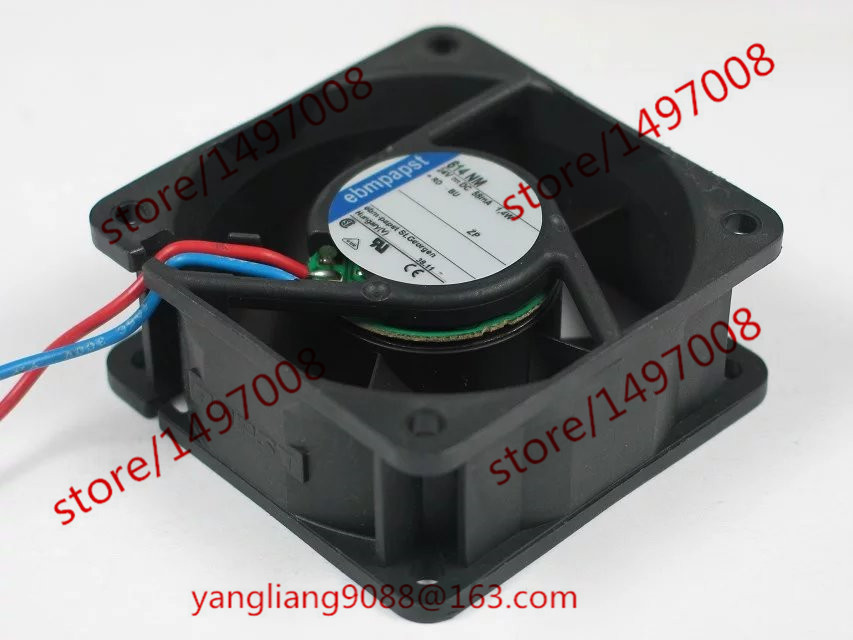 Free Shipping For ebmpapst 614NM 614 NM DC 24V 28mA 1.4W 4-wire 60mm 60X60X25mm Server Square Cooling Fan free shipping for delta afc0612db 9j10r dc 12v 0 45a 60x60x15mm 60mm 3 wire 3 pin connector server square fan
