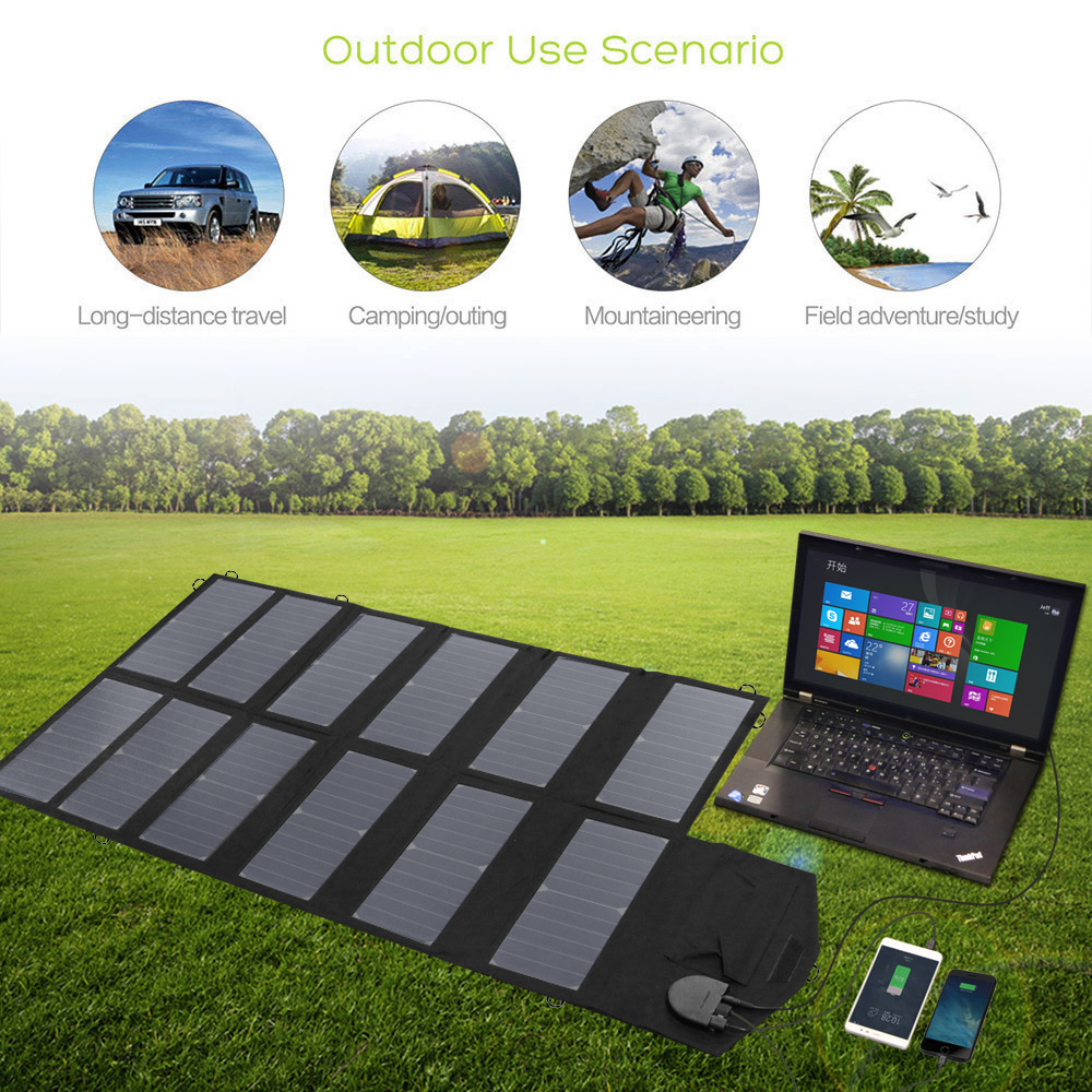 80W Solar Panel Portable Waterproof Charge bag Outdoor 18V DC 5V USB Output Solar Charger for Phone Notebook Tablet etc in Solar Cells from Consumer Electronics