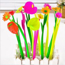 The New Creative Office Stationery Cute Simulation Plants Flowers Soft Silicone Gel Pen 0.5mm / 10pc