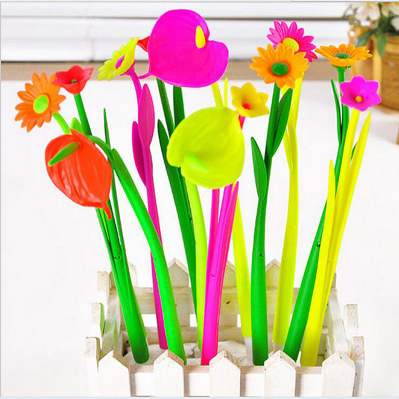 The New Creative Office Stationery Cute Simulation Plants Flowers Soft Silicone Gel Pen 0.5mm Pen / 10pc