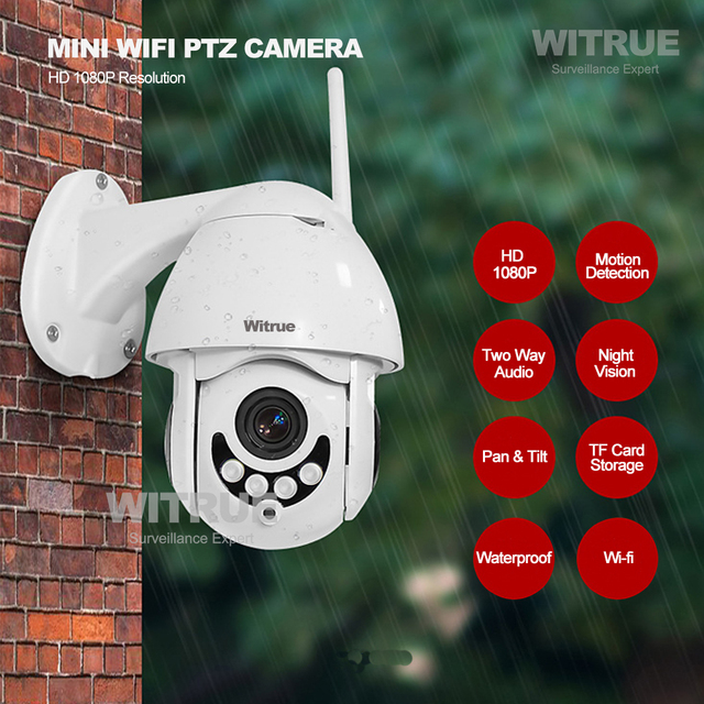 PTZ IP Camera 1080P WiFi Wireless Outdoor Waterproof Two Way Audio 64G TF Card Recording Mobile View Surveillance CCTV Camera 2