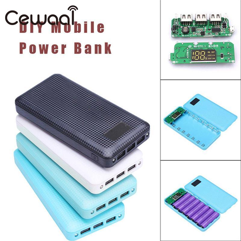 Cewaal 18200mAh DIY Battery Charger Box Power Bank Case 7*18650 LED Diaplay 3 USB Charging Mobile Phone Overshoot Protection diy dual usb mobile power bank charging circuit board w case blue 4 x 18650