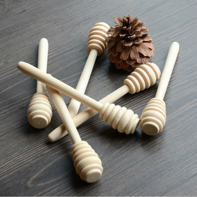 100 ピース/ロット 14 センチ木製蜂蜜スティック木材蜂蜜スプーンひしゃくパーティー供給  グループ上の ホーム&ガーデン からの スプーン の中 1