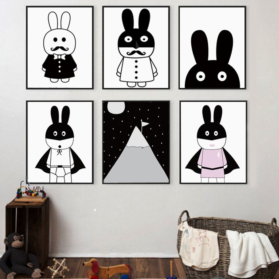 Cartoon Superhero Rabbit Mountain Moon Wall Art Lærredsmaleri Nordiske plakater og udskrifter Dyr Vægbilleder Børneværelsesindretning