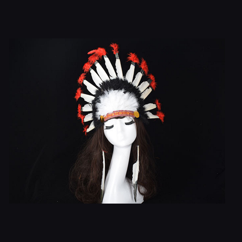 Indian Feather Headdress Handmade Red And Black Feather Costumes Handmade Indian Feather Headdress War Bonnet Hat Costumes