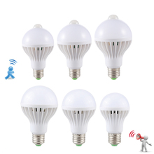 LED PIR Motion Sensor Lamp 5w 220v Led Bulb 7w 9w 12w Auto Smart Led PIR Infrared Body Sound + Light E27 3w Motion Sensor Light стоимость