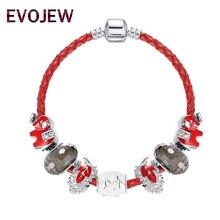 EVOJEW Fashion Red Leather Bracelet For Women Girl Animal Leaf Charm Beads Fit Bracelet&Bangles Jewelry Femme Pulseras Mujer