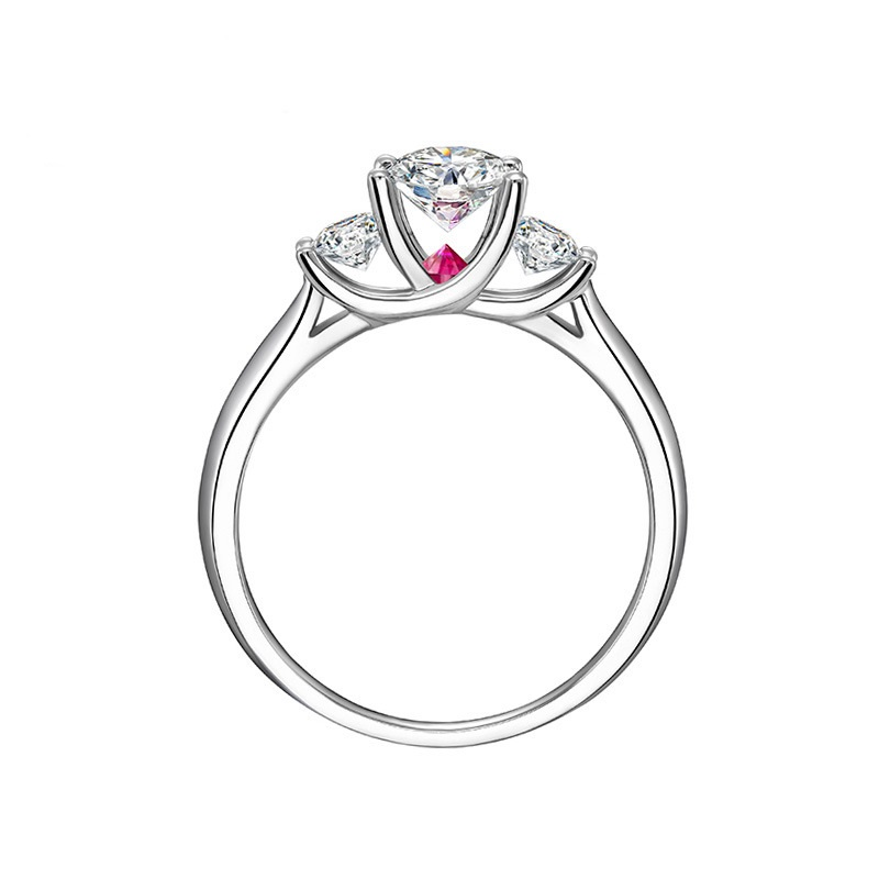 Classic Engagement Women Cubic Zirconia Brilliant Round Three Stones Ring Pure 925 Sterling Silver Jewelry Promise Ring Proposal