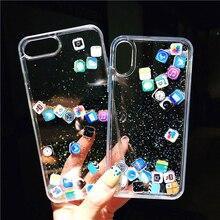 Милые забавные Приложения значок жидкой воды быстро песка Чехол для iPhone X 10 XS Max XR 8 7 6s плюс динамический песок течет чехол Коке