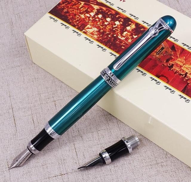 듀크 d2 만년필 녹색 d2 중간 펜촉 1pc 서예 fude 구부러진 펜촉 교환 가능 쓰기 그림 연습 세트