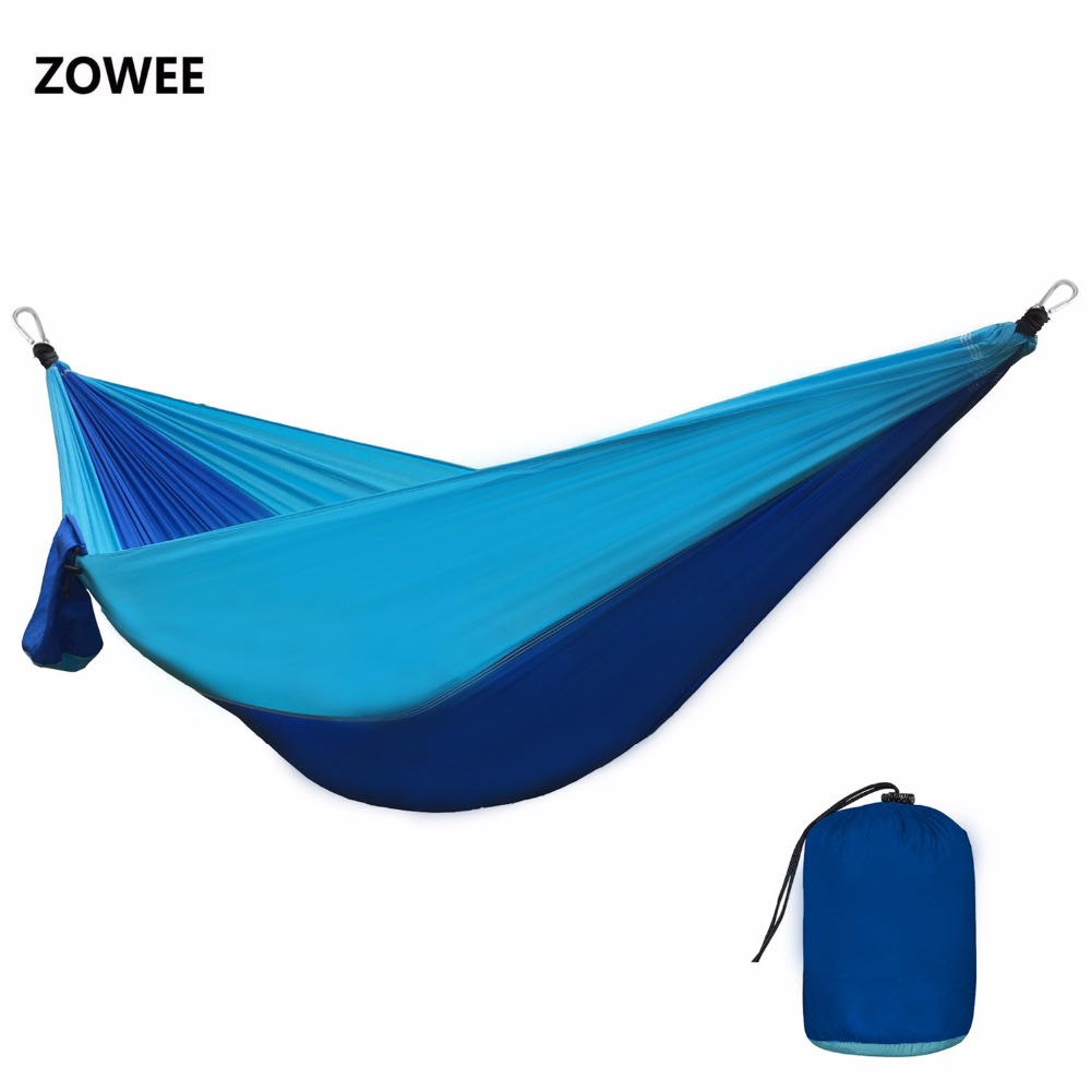 210T Nylon Parachute Hammock Light Weight Outdoor Camping Portable Single Hammock with hammock ropes and hammock carabiners-in Hammocks from Furniture