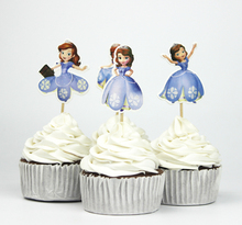 24pcs Princess Sofia Theme Party Supplies Cartoon Cupcake Toppers Pick Kid Birthday Party Decorations