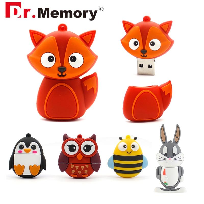 Cartoon USB Flash Drives 4GB 8GB Anime Fox Cat Bunny Cute Pendrives 32GB 16GB Personalized Memory Stick Pen Drive Flashdisk Gift