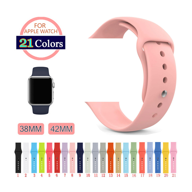 Silicone Sport Band for Apple Watch 38mm 42mm 40mm 44mm Replacement Sport Bracelet Wrist Strap for iWatch bands Series 1 2 3 4