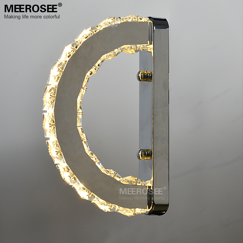 Modern LED Wall Light Fixture K9 Crystal Wall Sconce Lustres Creative D Shape Mirror Stainless Steel Bedside Lamps for Bedroom led mirror lights modern bathroom k9 crystal sconce wall lamps light stainless steel indoor lighting fixtures 6w 9w z4