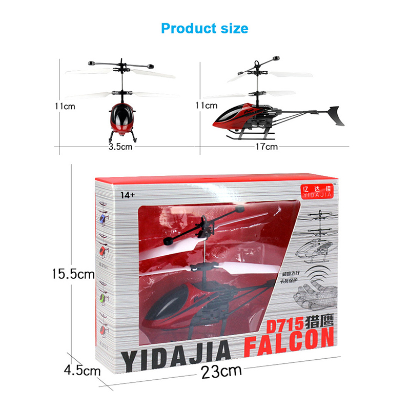 D715 Flying Mini RC Helicóptero de Inducción Infrarrojo Aviones - Juguetes con control remoto - foto 5
