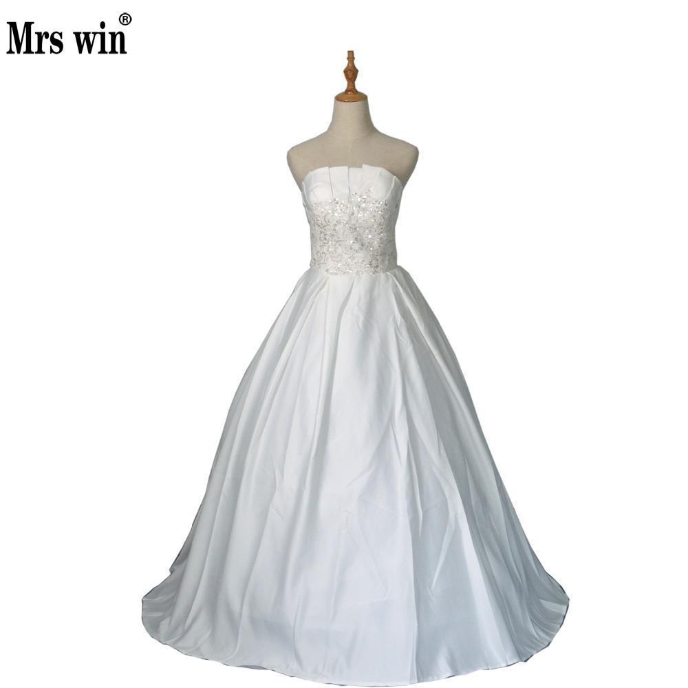 Hot Sale Strapless Sweetange Satin Bridal Dresses Korean Style Sweet Romantic Lace Princess Wedding Dress Vestido De Noiva
