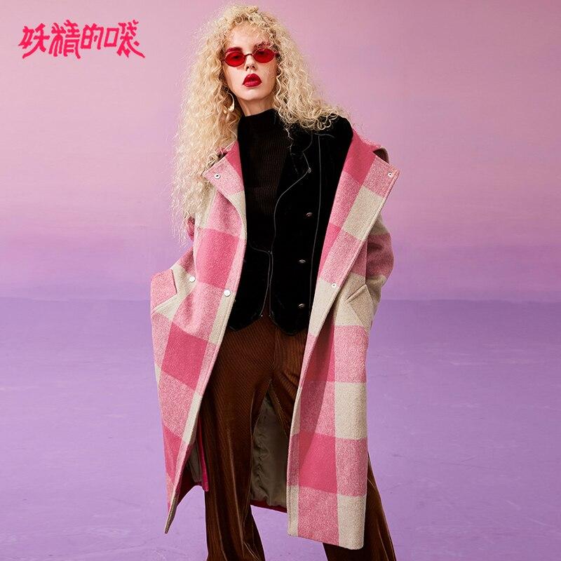 ELF SACK Winter New Woman Woolen Coat Turn down Collar Long Full Plaid Women Jackets Wide