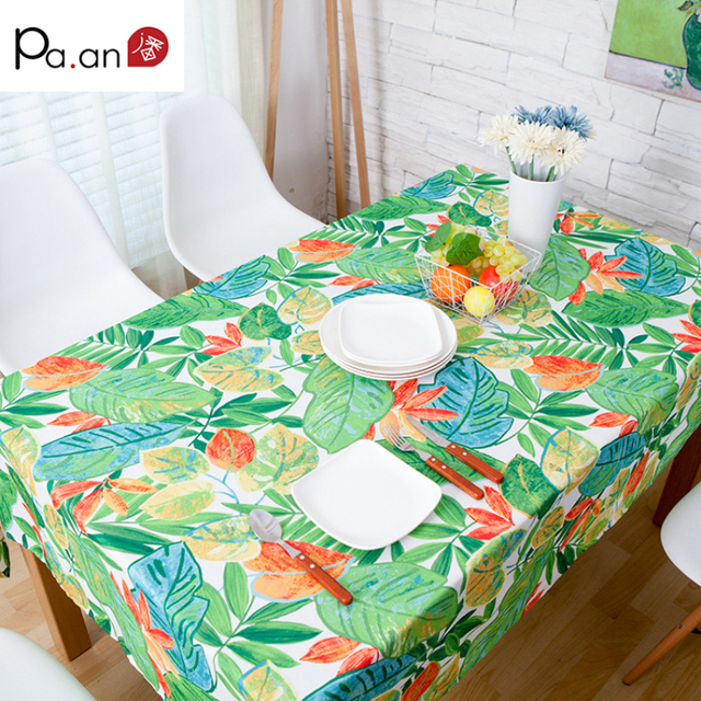 New Spring Green Leaves Printed Table Cloth Polyester Cotton Dust Proof  Waterproof Thick Home Party Banquet