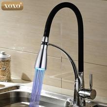 XOXO светодиодный смеситель для кухни с резиновым дизайном, хромированный смеситель для раковины, с одной ручкой, выдвижной кран на бортике, горячая и холодная 83013