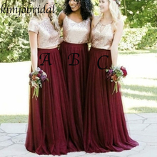 Cheap Bridesmaid Dresses 2019 Crew Neckline Sequins A Line Chiffon Gold Wine Red Dress