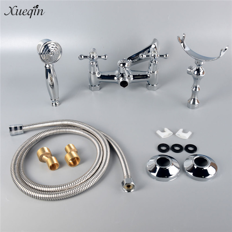 Xueqin Chrome Wall Mount Clawfoot Bathtub Tub Faucet With Hand Shower Spray Head Full Set Bathroom Equipment polished chrome double cross handles wall mounted bathroom clawfoot bathtub tub faucet mixer tap w hand shower atf902